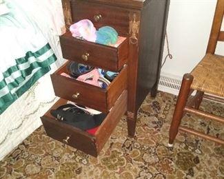 Unusual 4 drawer nightstand