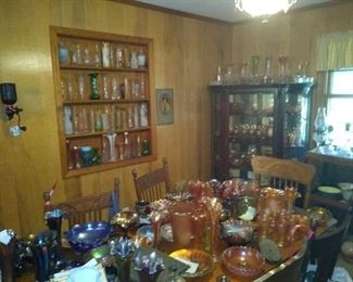 Awesome collection of carnival glass and other glass