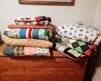 Assorted early quilts