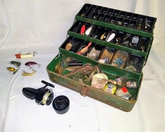 Vintage tackle box with Mitchell reel