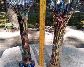 "16"" rustic carnival glass funeral vases"