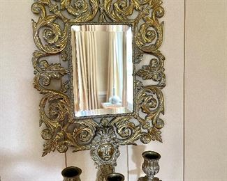Antique solid brass - stunning - sconce pair! RARE