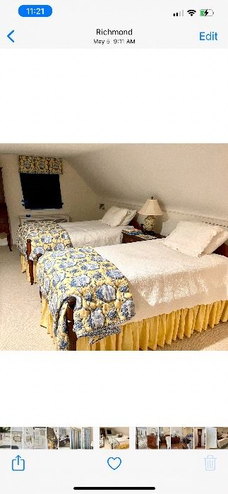 Antique twin tie beds with custom bedding