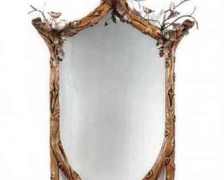 Faux bois mirror with metal bird nest and hand painted birds....must see to believe how beautiful this mirror is!
