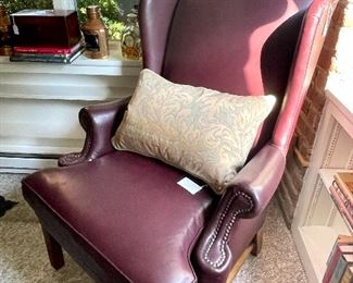 Fortuny pillow on Lee Industries leather wingback chair