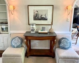 Cuatom slipper chairs, lalique starfish, marble top empire console - and the rug...must see!