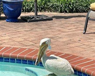 Vintage yard art...hand painted pelican is too cute for words