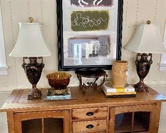 Jennifer Van Winkle original artwork, pine console and wildwood lamps!