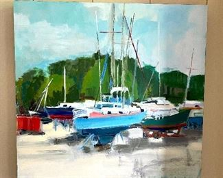 "Original Paula Wachsstock - ""Boat Yard"" - Oil on Board"