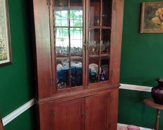 Late 1800's walnut corner cupboard