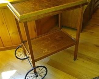 Antique tea tray table with removable tray