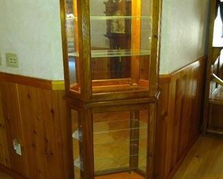 Vintage Oak display cabinet Vitrine with lighting.