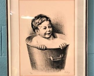Boy in Tub Drawing, White Sulphur Springs Artist Signed  Numbered