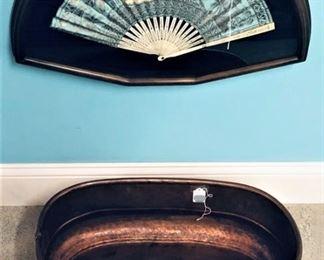 Copper Foot Bath Planter and Framed Oriental Fan