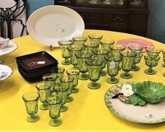 Fostoria Goblets, Cake Trays Etc