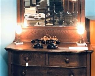 Oak Dresser with Pair Electric Hurricane Lamps