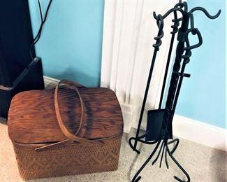 Picnic Basket and Fireplace Set