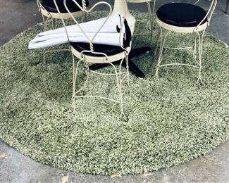 Round Green Shag Rug