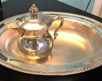 Silverplated Pitcher and Tray