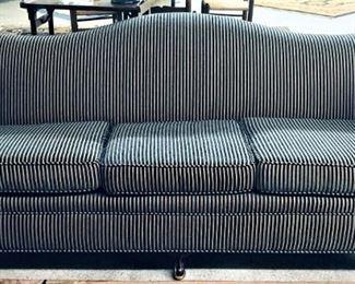 Camelback Sofa Navy Cream Striped