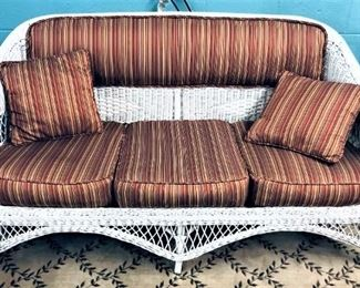 Wicker Loveseat with Pillows and Cushions