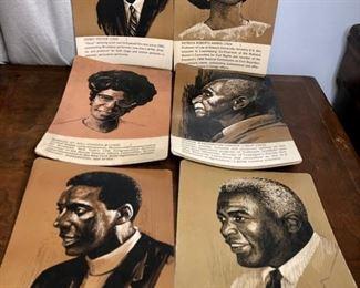 Vintage 1960's cardboard Teacher's Aid, Classroom Posters - Black History