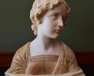 """Antique Marble Bust  Titled """"Mignon"""" Signed on Back"""
