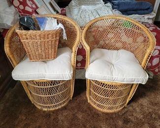 Rattan fan/peacock chairs