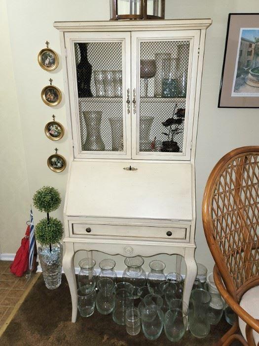 Shabby chic painted white secretary desk
