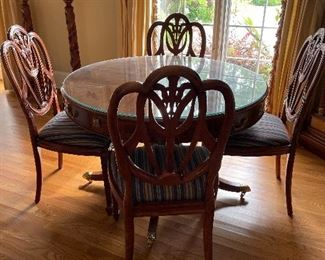 Beautiful  Maitland Smith round table & 4 chairs