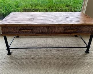 Rattan and iron coffee table by Palecek