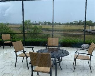 Lots of outdoor furniture! Fire ring with 4 chairs