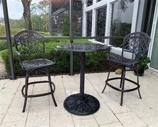 Iron high top table with 2 chairs