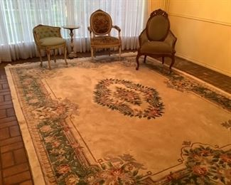 Large area rug, Victorian chairs,