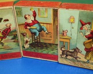 Antique victorian alphabet wooden blocks