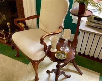 Queen Anne chair, piecrust drinks table & plant stand.