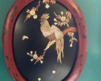 Lacquer & shell cockerel wall art.