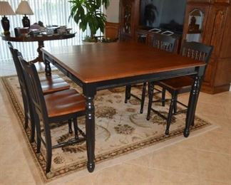 """Furniture of America FOA Sallie Solid Wood Extendable Counter Height Pub Dining Table in Black and Antique Oak. Shown with one 18"""" leaf inserted. Set with four chairs"""