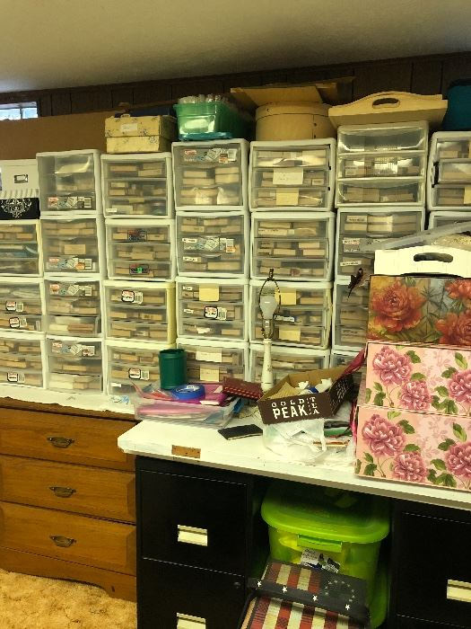This is one wall of stamps! Most are new and they are all categorized into subjects. Birds, flowers, butterflies etc.