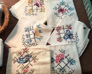 These hand embroidered linen towels are darling.