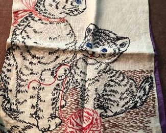 Vintage embroidered kitten pillowcase.