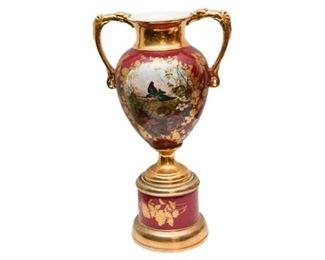 19th European Porcelain Urn on Stand