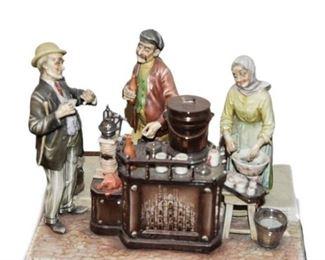 A BORSATO Porcelain Figural Grouping Cafe Espresso