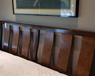 Burled wood king size headboard