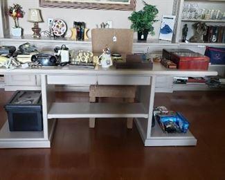 Desk, vintage telephones, cigar boxes, treasures!