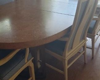 Large oval burled wood table