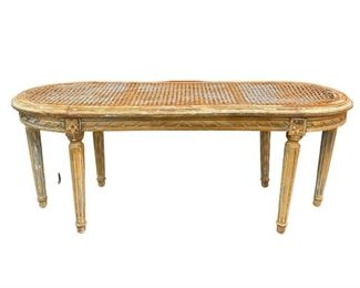 Distressed Oval Cane Bench