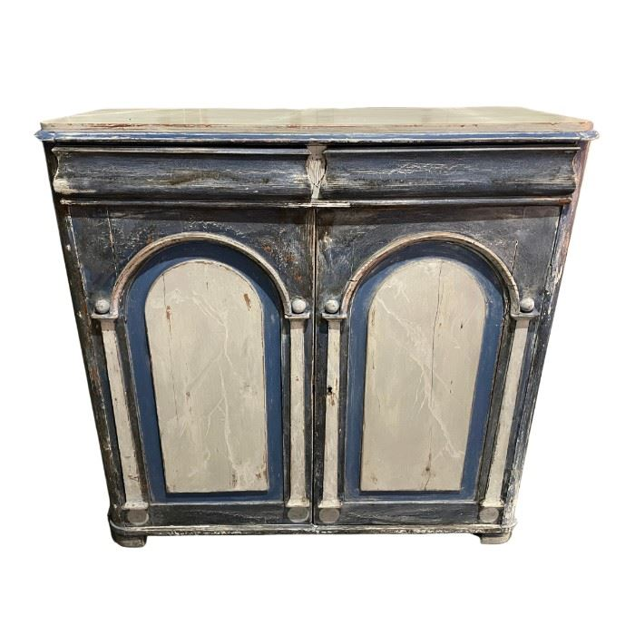 Distressed Blue and White Painted Cabinet