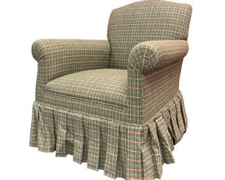 Vintage Skirted Green Armchair