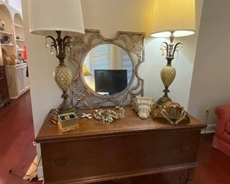 Pair of vintage lamps, Lane cedar chest